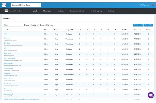 Showcase IDX Features - Real Estate CRM Leads Table