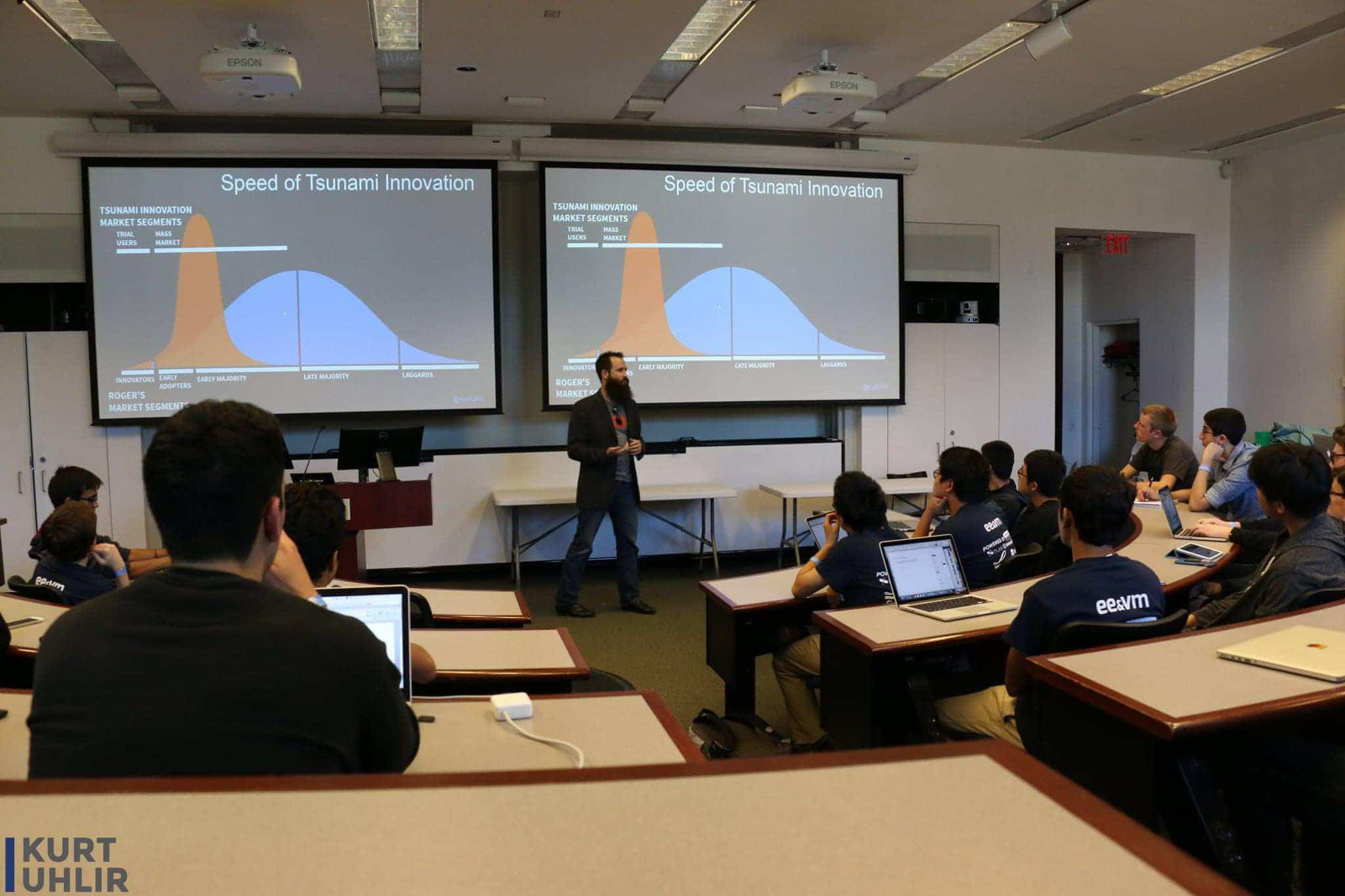 Kurt Uhlir speaking on how to best present your business at Emory