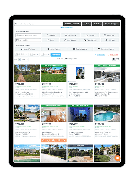 Listing Pages - Mobile property search on ipad