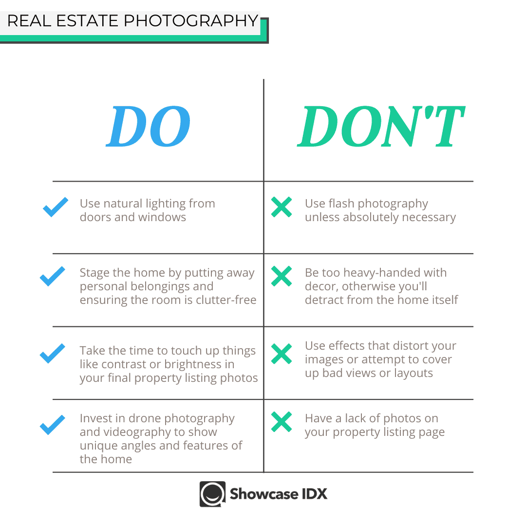 Real Estate Photo do's and don'ts infographic