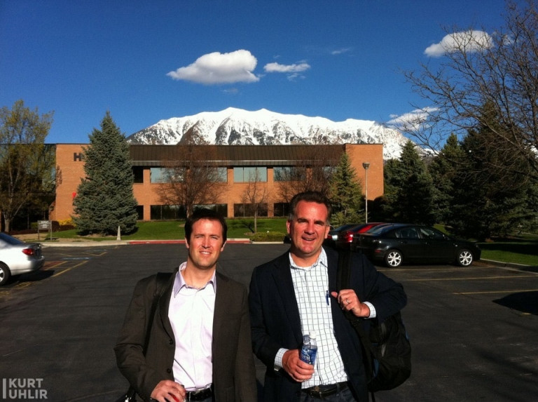 Kurt Uhlir with his former mentor Reggie Bradford at Adobe Utah Campus