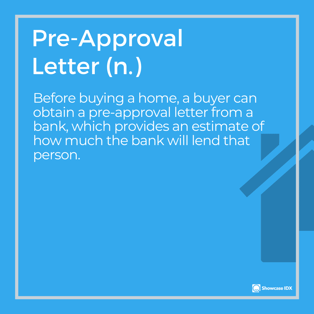 real estate definitions pre approval letter
