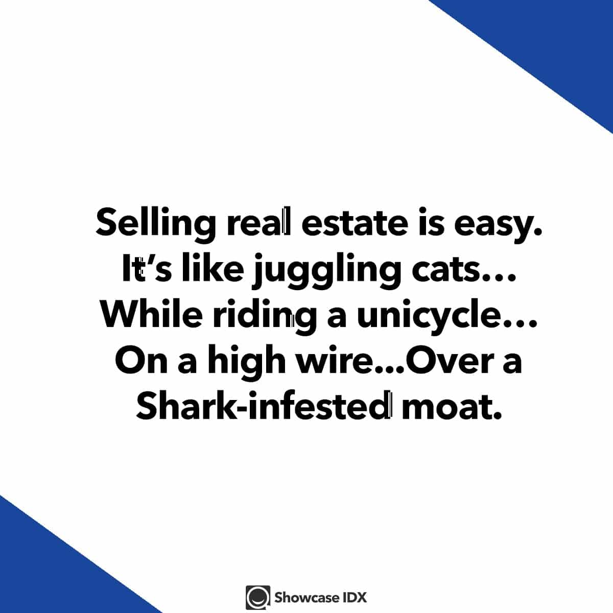 funny real estate quotes - Selling real estate is easy - It's like juggling cat while riding a unicycle on a high wire - real estate meme - lighter side of real estate