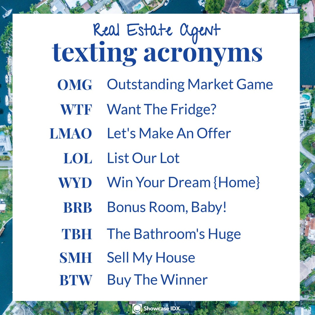 real estate meme - real estate texting acronyms every Realtor should know