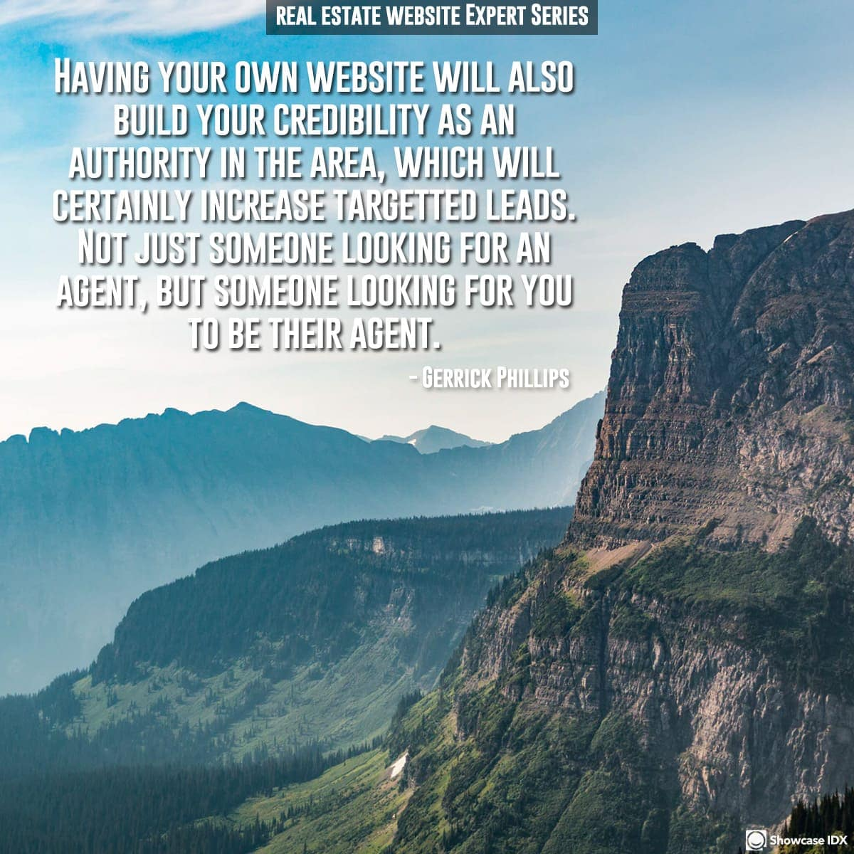 Having your own website will also build your credibility as an authority in the area, which will certainly increase targetted leads. Not just someone looking for an agent, but someone looking for you to be their agent.